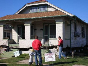 Roubion Shoring raising a house in New Orleans